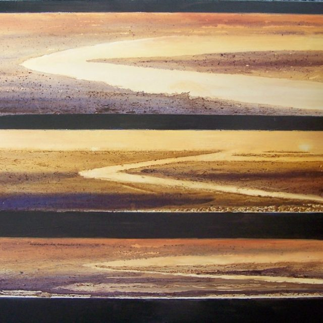 The Change of the Tide - Oil Painting an Abstract evoking changes in the tide on an evening beach scene