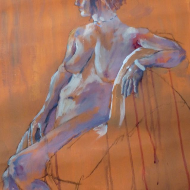 Female Seated. A contemporary style life model reclining - Acrylic Painting