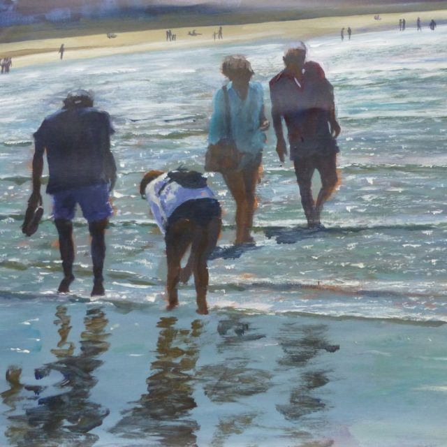 Beachcombing. Figures on the sea shore paddling and looking for shells - Acrylic Painting