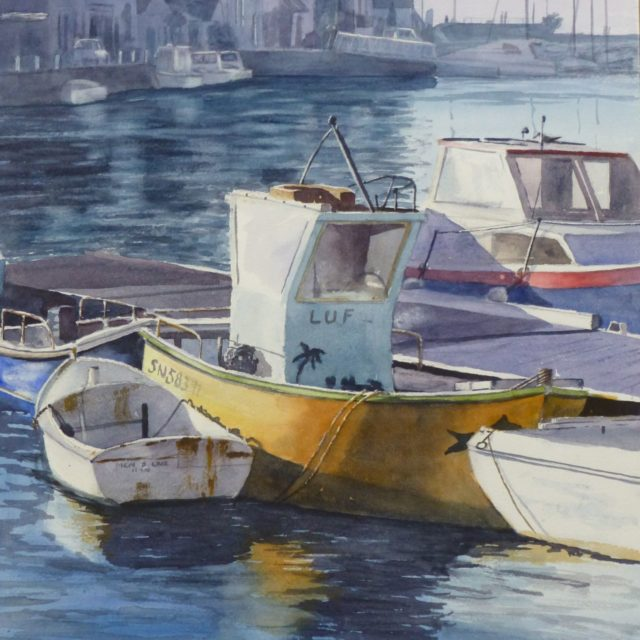 Last Light at Le Croisic fishing boats moored in Harbour in France - Watercolour Painting