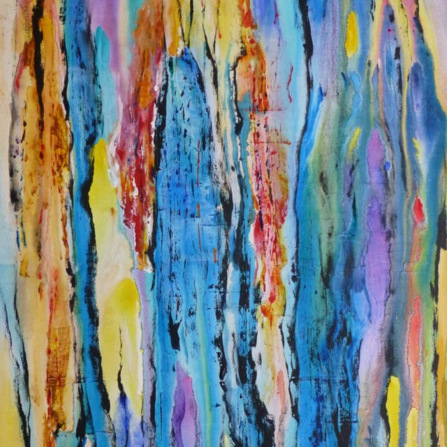 Memories of Rip Scoured Beaches an abstract painting of poured paint emboldened with line - Acrylic Painting
