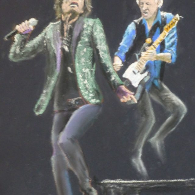 Only Rock and Roll a picture of Mick Jagger and Keith Richards in performance with the Rolling Stones - Pastel Painting