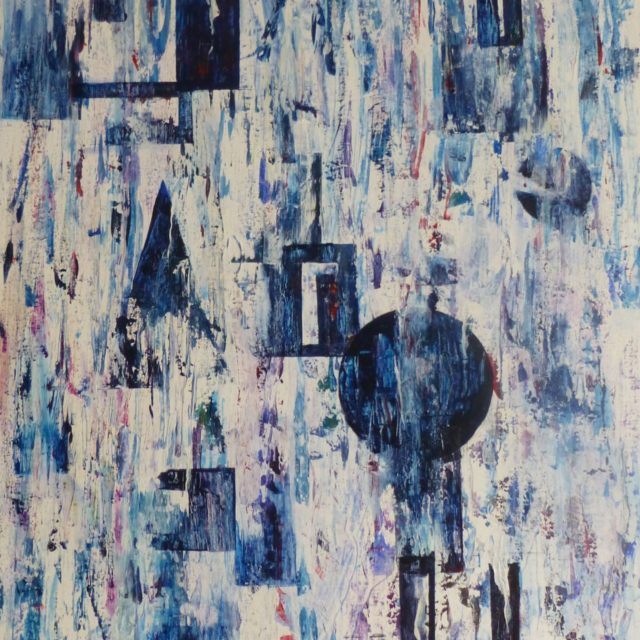 The Archaeology of Paint an abstract painting including shapes appearing and disappearing in blues whites and reds - Acrylic Painting