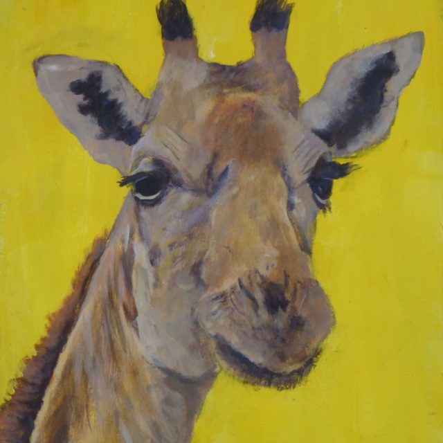 Oi! You Down There Head and neck of Giraffe with long eye lashes - Acrylic Painting