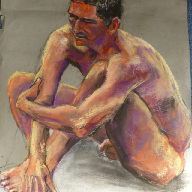 Figure Seated, male life model in compact pose seen from above - Pastel Painting