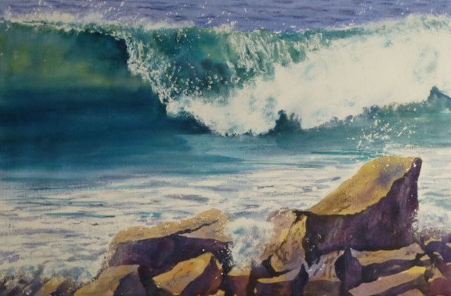 Tidal Tango wave breaking on the beach against rocks - Watercolour Painting