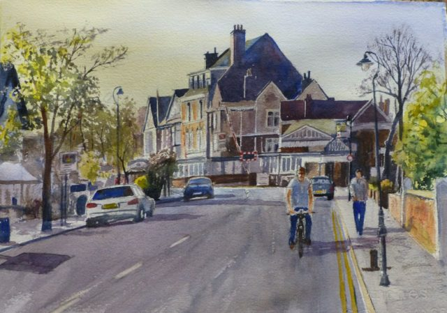 Birkdale Morning a view of Birkdale station and shops in Weld Road - Watercolour Painting