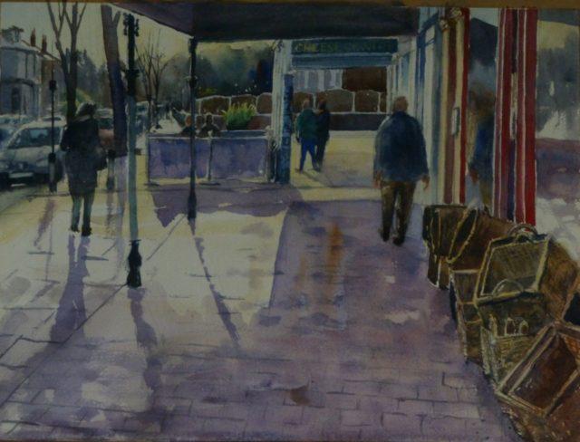 Birkdale Light. Birkdale village shops and pedestrians - Watercolour Painting
