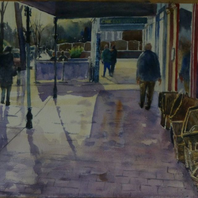 Birkdale Light. Birkdale village shops and pedestrians - Watercolour Painting