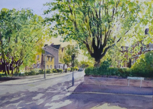 Spring Explodes onto Walmer Road, Birkdale, Southport. Sycamore tree in new leaf as the sun shines through - Watercolour Painting