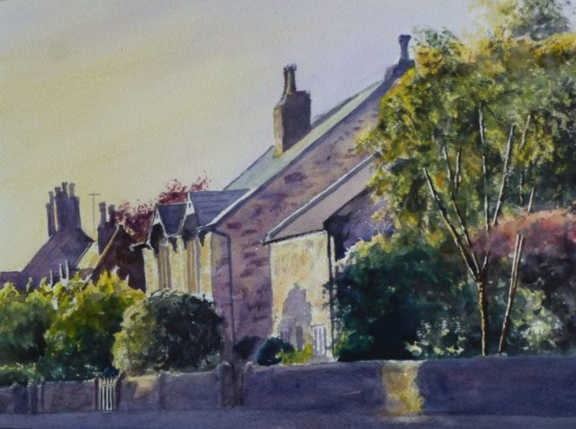 Cottages in Little Crosby, Liverpool - Watercolour Painting
