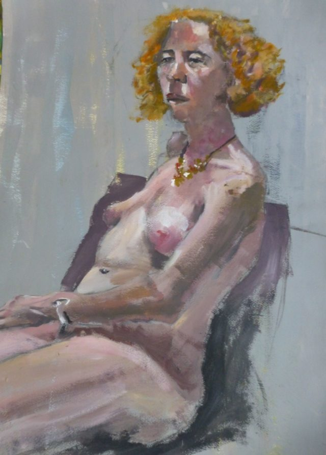 Eve with a Necklace. A female life model in sitting pose - Acrylic Painting
