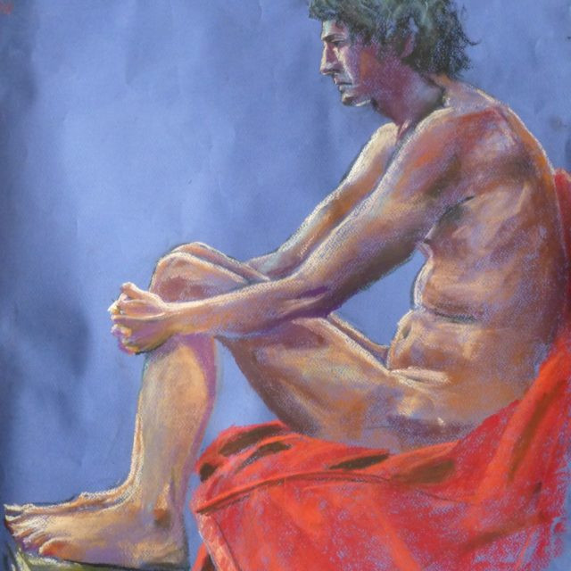 Considering the Books I've Read a male life model seated resting his feet on a pile of books - Pastel Painting