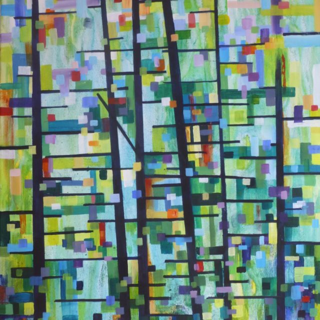 Stand - Acrylic Painting an Abstract evoking the forest in a pointillist style