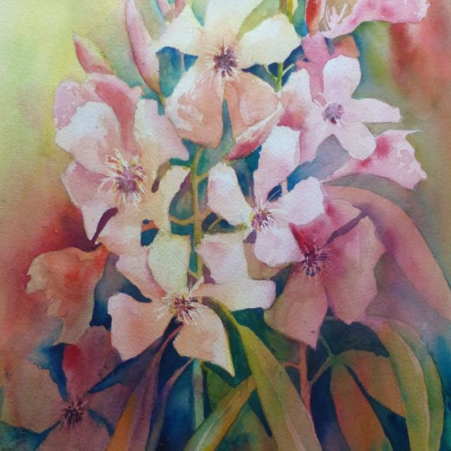 Oleander in Red - Floral Watercolour Painting