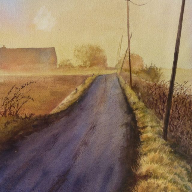 A Chill Morning on Plex Moss Lane across Halsall Moss with telegraph poles and farms in the mist- Watercolour Painting