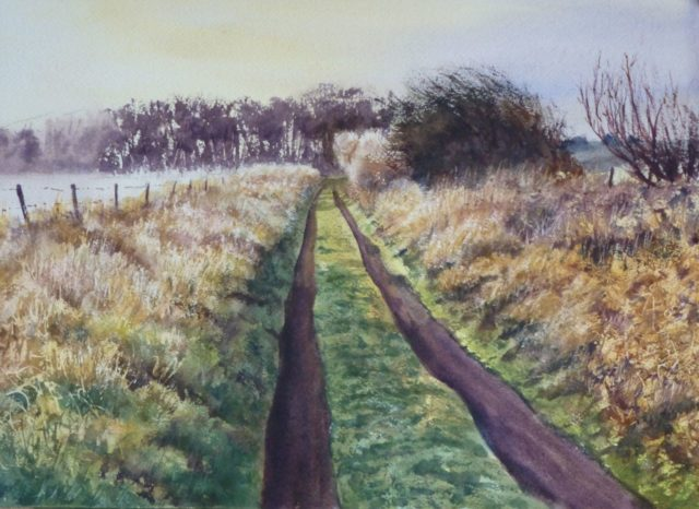 Coastal Path at Formby in the morning light - Watercolour Painting