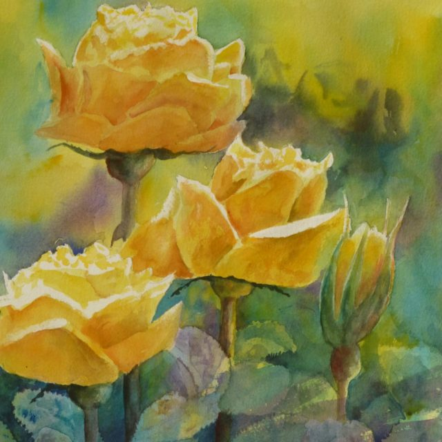Yellow Roses - a floral Watercolour painting