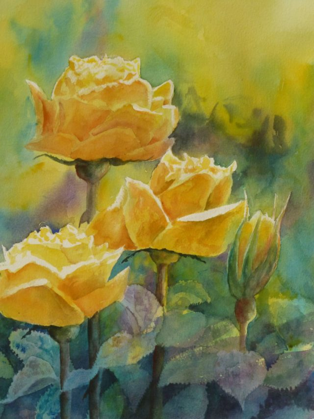 Yellow Roses, flowers buds and foliage - a floral Watercolour painting