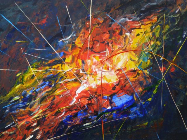 NOW IF YOU HAD TOLD ME THAT WOULD HAPPEN - ACRYLIC ABSTRACT PAINTING. A MIX OF BRIGHT COLOUR AND LINE
