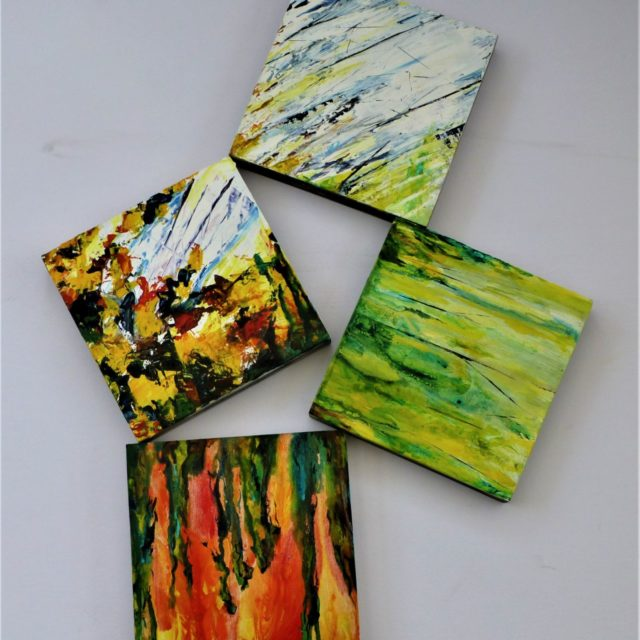 Tumbling and Passing - Acrylic Painting evoking the passing of seasons. Poured paint on four pieces