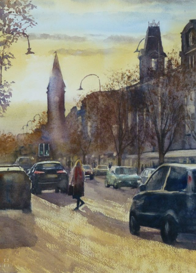 Late Afternoon, Lord Street, Southport, crossing the road in front of old Cheshire Lines Station - Watercolour Painting