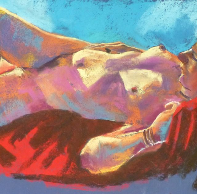 Model in Light reclining female life model - Figurative Pastel Painting
