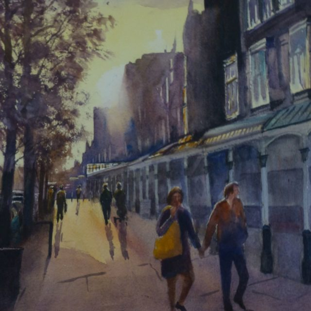 Late Shopping on Lord Street, Southport by covered arcade walkway - Watercolour Painting