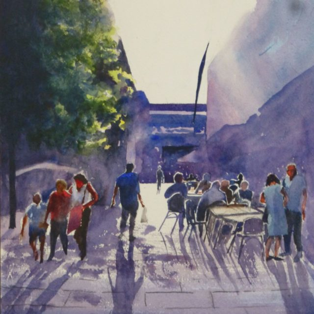 SHOPPING CAN CREATE A THIRST shoppers enjoying a drink at Liverpool 1 - WATERCOLOUR PAINTING