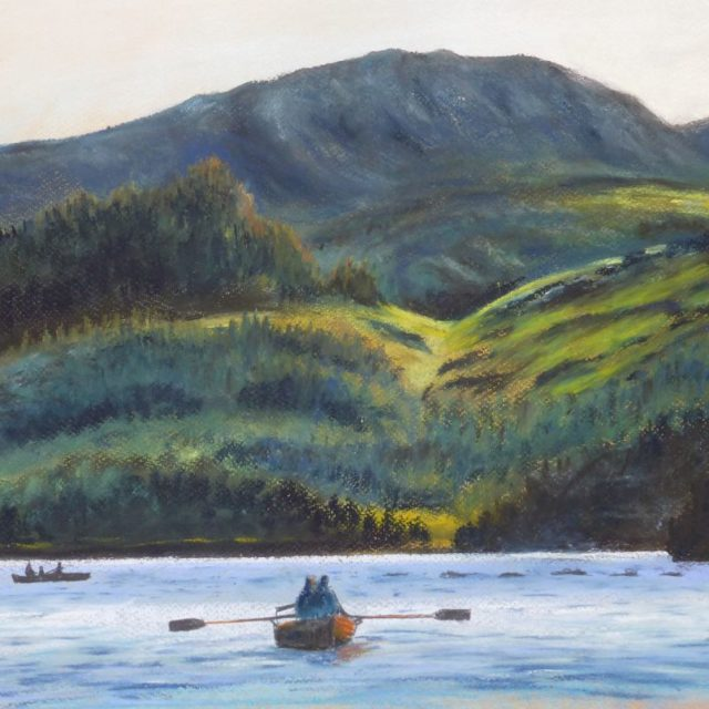 Boating on Derwentwater, near Keswick with rowboats and the jaws of Borrowdale behind - Pastel Painting