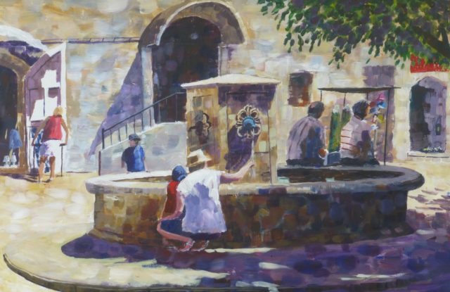 Water and Shade French parents and children around the village fountain in the central square - Acrylic Painting