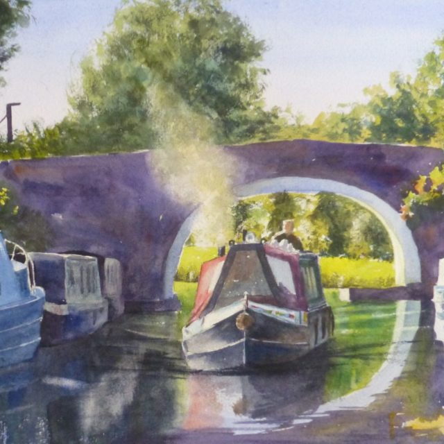 Finding Winter Moorings - Narrowboats on the Leeds to Liverpool Canal near Crosby going under canal bridge - Watercolour Painting