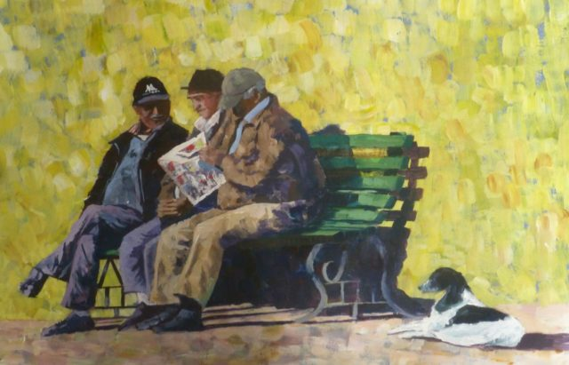 A Few Moments to Relax. Old men sat on a bench reading newspapers and talking whilst their dog waits- Acrylic Painting