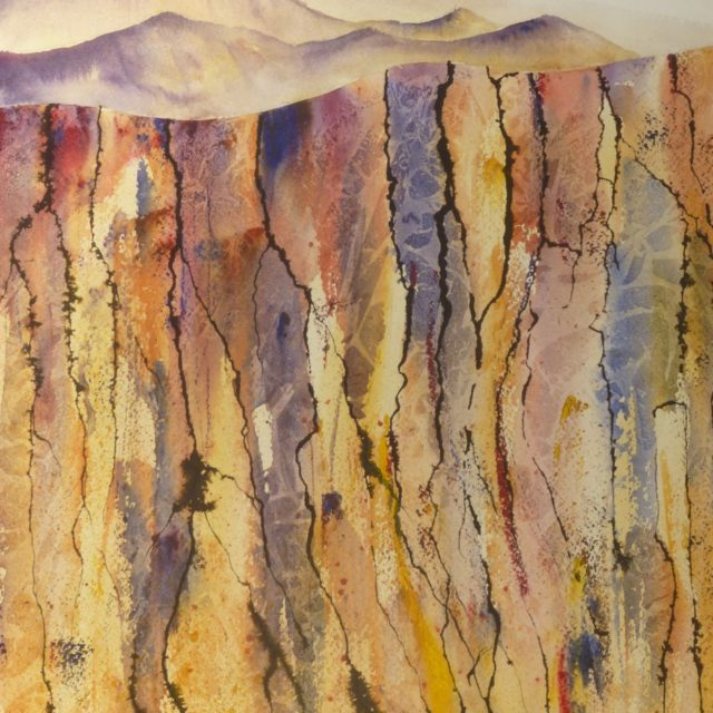 Beneath the Surface. Abstract with colour and line beneath a barren landscape - Watercolour Painting