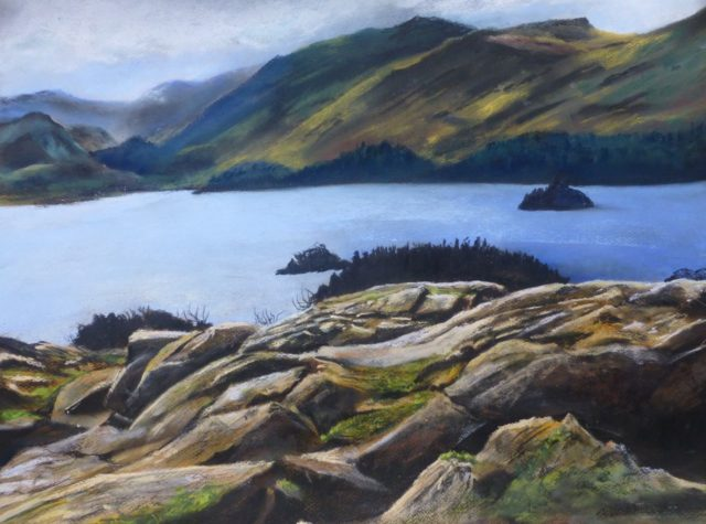 View of Derwentwater from Friars Crag to Jaws of Bowland-Pastel Painting