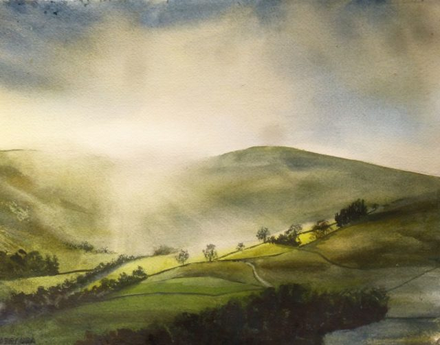 The Sun Comes up over Bowland Sunlight brightly obscuring the hillside and illuminating trees and valleys - Watercolour Painting