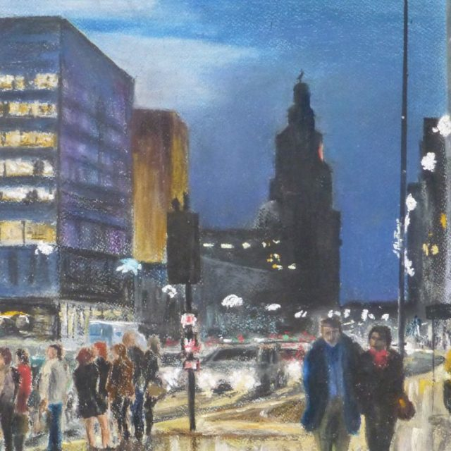 Waiting to Cross the Strand Liverpool in the evening with the Liver Building in the background - Pastel Painting