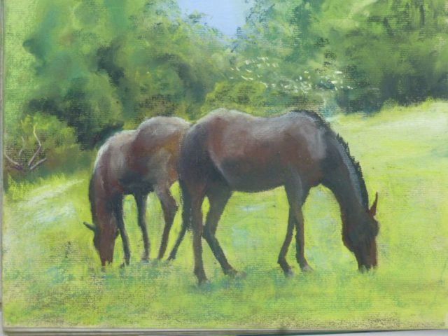 Dining Out two race horses eating grass in a paddock - Pastel Painting