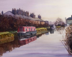 a watercolour painting of cottages alongside the Leeds and Liverpool canal at Burscough