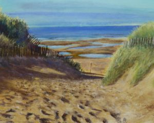 Formby Beach, Lifeboat Road. view of the sea through dunes and marram grass, Pastel painting