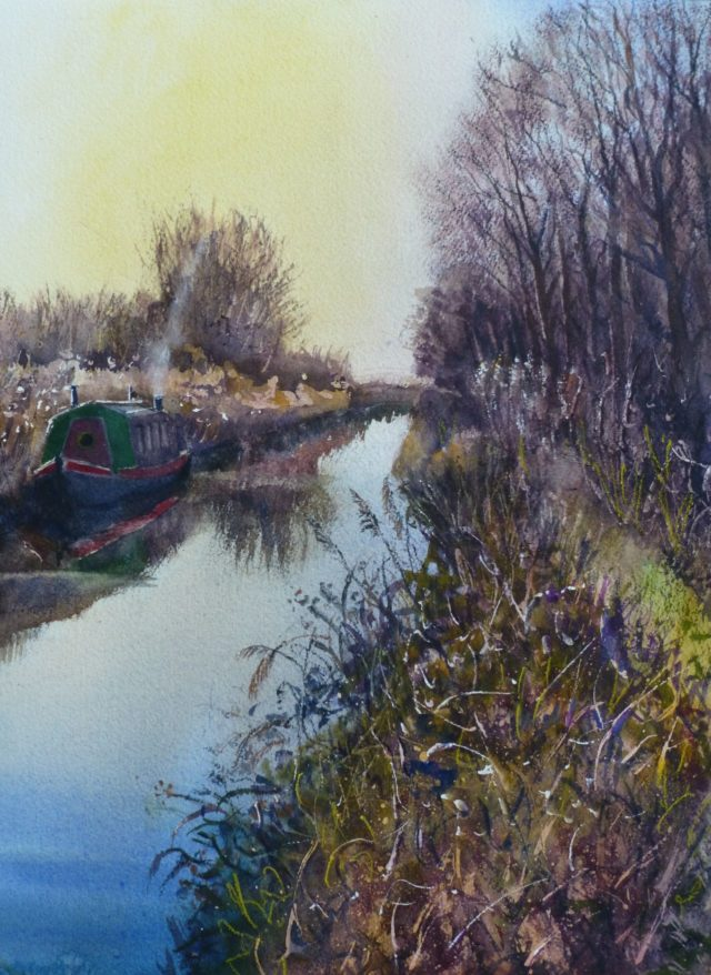 Leeds and Liverpool canal with narrowboat, canal path and water rushes, Burscough, watercolour painting
