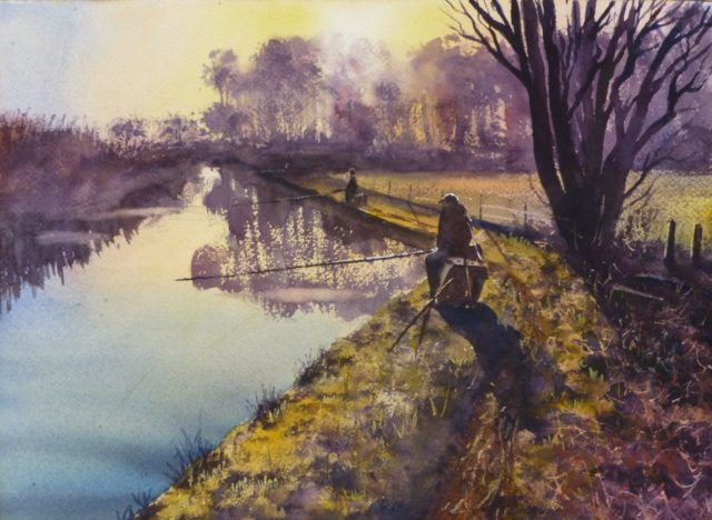 A watercolour painting of fishermen on the Leeds and Liverpool canal, near Heatons Bridge, Burscough, at sunset
