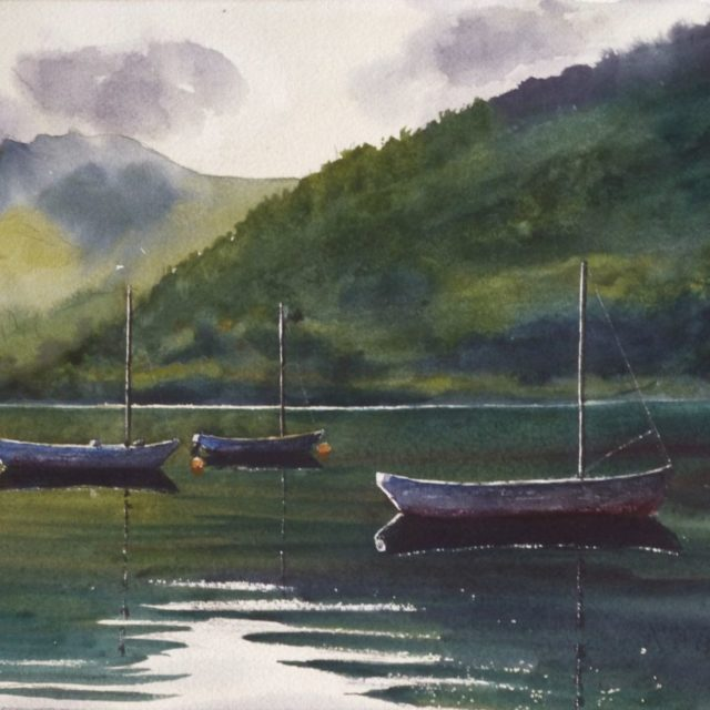 A watercolour painting of Bassenthwaite lake with moored boats and mountains