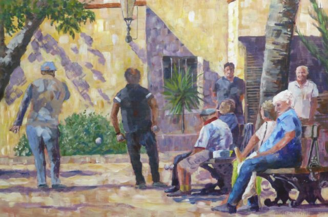 An Acrylic painting of French boule or pentaque players