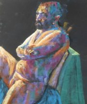 A pastel painting of a male figure life model seated