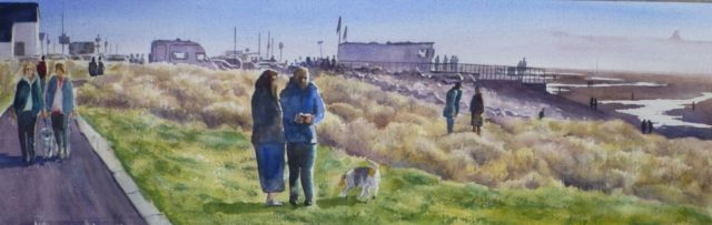 The Coastral Path at Crosby with Mersey Estuary and Coastguard Station – Watercolour Painting