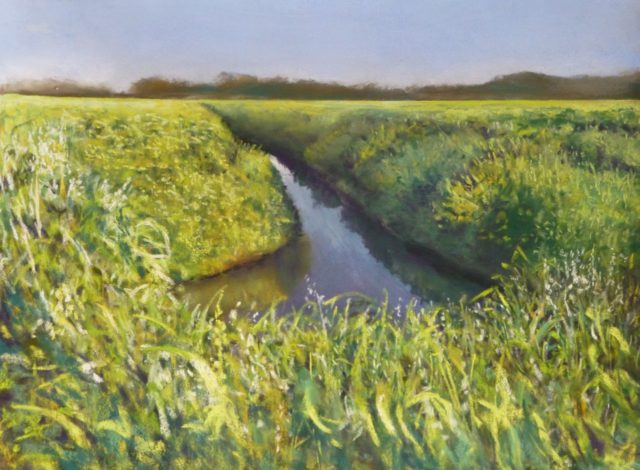 A pastel painting of Halsall Moss near Southport on a spring morning