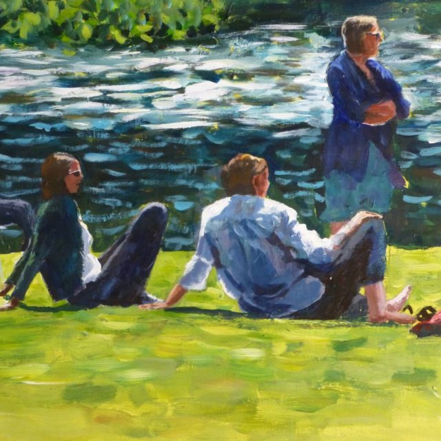 An Acrylic painting of a group of people in various poses sat by the River Thames reminiscent of a Sunday on the Grande Jatte