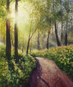 Path Through the Woods - a watercolour painting of the path through Ainsdale woods to Freshfield. Formby
