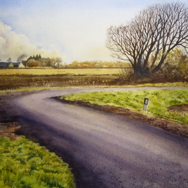 A Bend in Plex Moss Lane - a watercolour painting depicting a lane across Halsall Moss, Southport with a view of fields, spring trees and farms